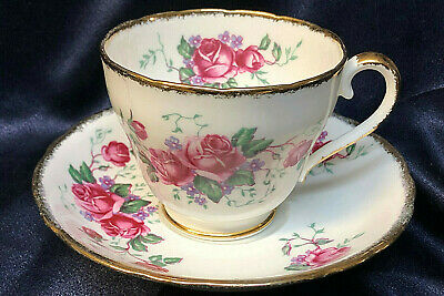 Pink Red Rose Cup Saucer Adderley 442 Lawley England