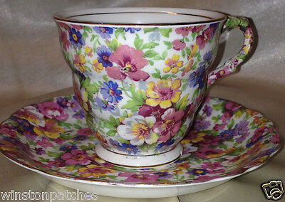 James Kent England Dubarry Footed Cup & Saucer 8 Oz Floral Chintz Gold Trim