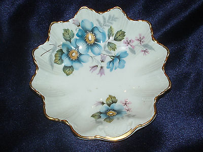 James Kent Old Foley Shell Leaf Shaped Pin Dish Blue Yellow Pink Purple Flowers