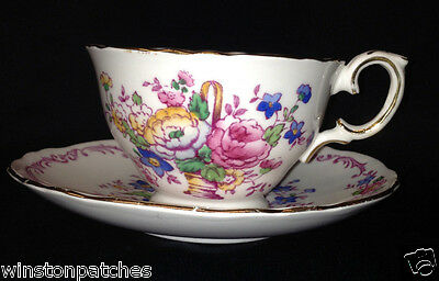 Crown Staffordshire F15767 Footed Cup & Saucer 8 Oz Floral Basket Plum Scrolls