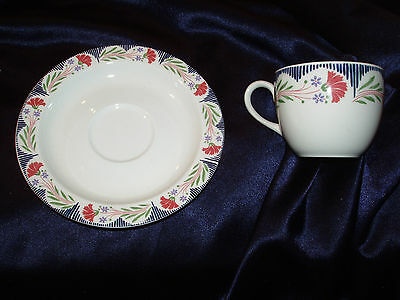 Poole England Kimmeridge 2 Cups & 2 Saucers Red Flowers Blue Lines Green Leaves