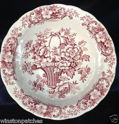 "Ridgway England Old English Bouquet Round Bowl 7 7/8"" Red Flowers Basket Scrolls"