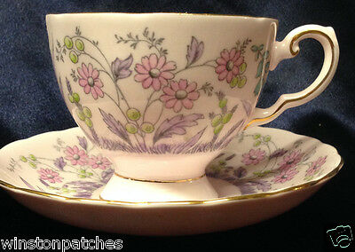 Royal Tuscan England 2056H Cup & Saucer 6 Oz Pink With Multicolor Flowers Gold