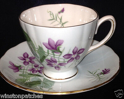 Colclough England Purple Violets Footed Cup & Saucer 8 Oz 0876 Blue Background