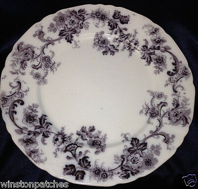 "Wood & Son England Sydney Mulberry Dinner Plate 9 7/8"" Purple Flowers Gold"