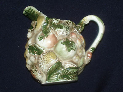 Lefton Fruits Of Italy Creamer Embossed Overall #1177 Green Leaves