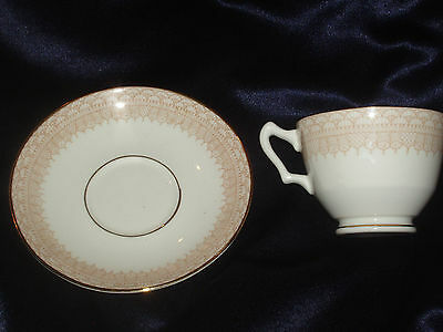 Crown Staffordshire Classic Cup & Saucer Brown Circles Lattice Gold Trim Lines