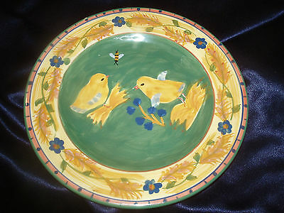 """Dept 56 Department Yellow Chicks Chickens W Butterfly & Bumble Bee 9"""" Plates"""