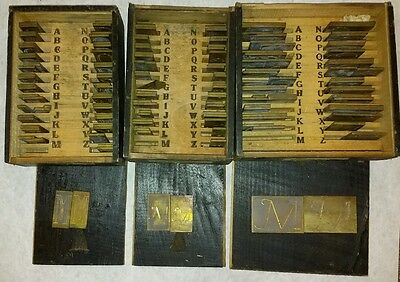 """Set of 153 Brass Initialing Type Letters - 1.5"""""""