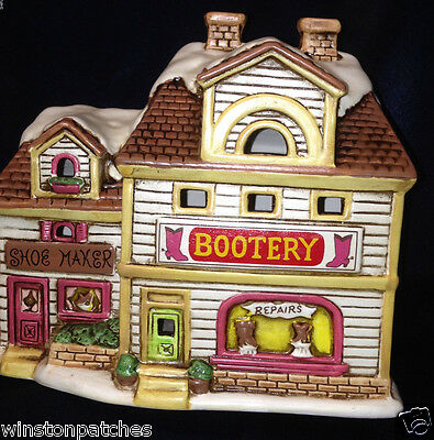 Lefton Geo 1988 Colonial Village 06903 Cobb's Bootery W Box Shoe Maker Repairs