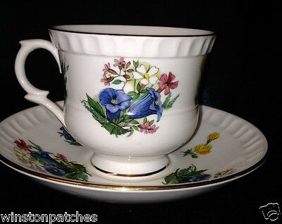 Crown Staffordshire England B946 Cup & Saucer 8 Oz Flowers Gold Trim