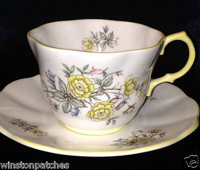 Rosina Queens England Centenary Year Yellow Trim Cup & Saucer 6 Oz Flowers