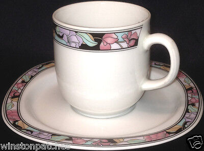 Mitterteich Angela Demitasse Expresso Cup Saucer Black Band With Flowers Germany