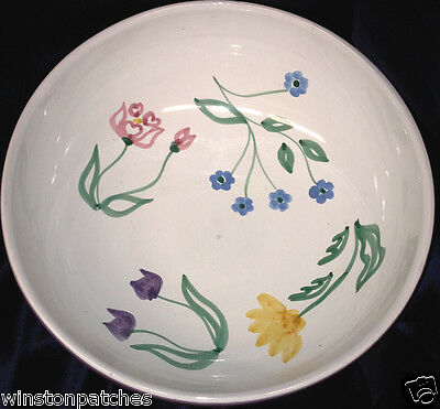 "Caleca Meadow Italy 10 1/2"" Salad Serving Bowl Multicolor Bands & Flowers"