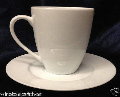 Block 1998 Zen Cup & Saucer 10 Oz All White Smooth
