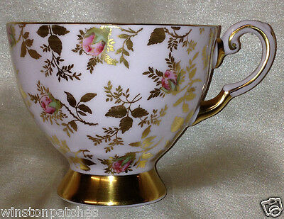 Royal Tuscan England Sunshine Footed Cup 8 Oz Red Rosebuds & Gold Leaves On Pink
