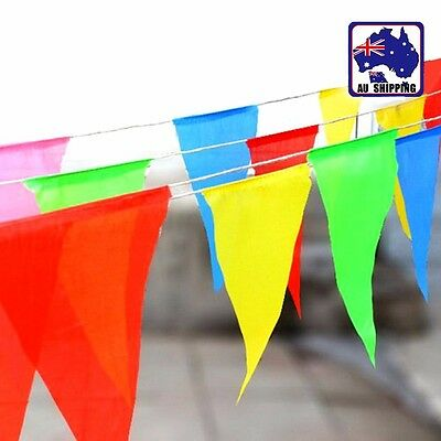 40m Multi-Coloured Flag String Banner Bunting Pennant Party Ceremony SFLA119
