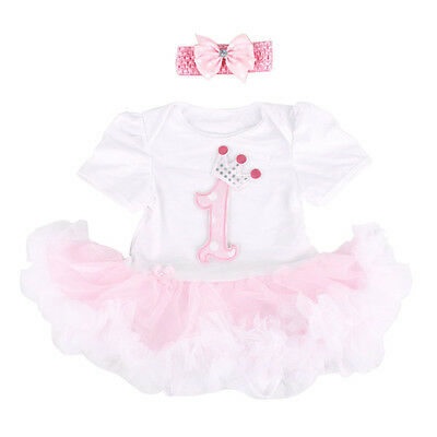 Baby Girls' Outfit 2PCS 1st Birthday Pink Tutu Dress with Headband 12-18Months