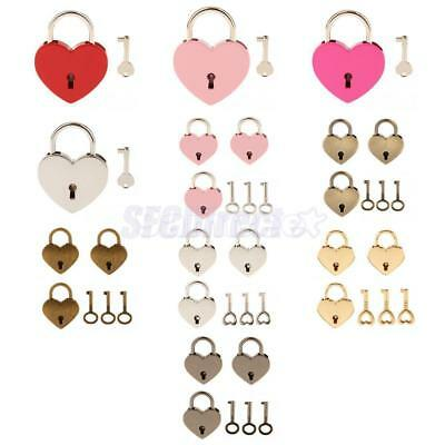 Colorful Old Vintage Heart Shape Padlock with Keys Luggage Diary Box Lock Set