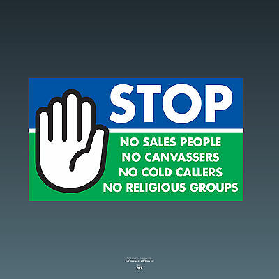 SKU77 Stop Cold Calling Door Sticker No Canvassers Callers Religious Groups Sign