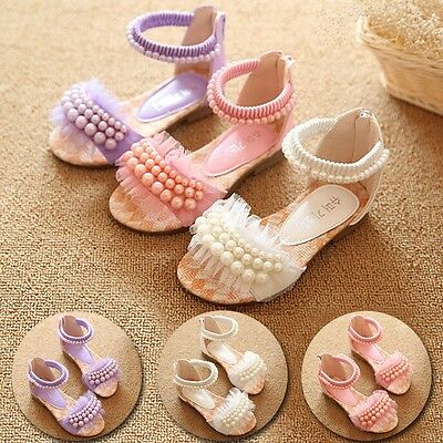 Children Girls Baby Toddler Kids Flat Shoes Cute Sandals Pearl Lace Princess
