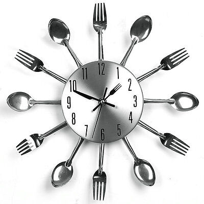 Modern Style DIY Wall Clock Watch Time with Kitchen Cutlery Spoon Fork Sliver