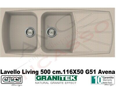Lavello Elleci Living 500 LGL50051 NNA 116X50 2 Vasche Fragranite 51 Avena