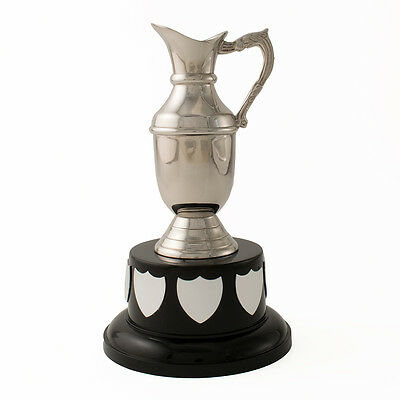 "7"" Silver Nickel Plated Claret Jug Trophy Award on Black Base - Free Engraving"