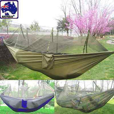 Hanging Hammock Mosquito Net Sack Tent Camping Hiking Outdoor Bed OHAM 362