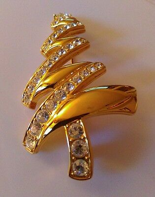 *Vintage Goldtone Rhinestones Christmas Tree Brooch Pin MONET