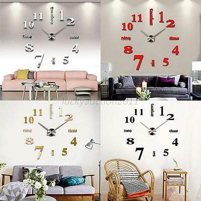 Fashion 3D Mirror Surface Sticker Modern DIY Large Wall Clock Home Room Decor