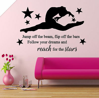 Wall Stickers custom Girl Gymnast Gymnastics Dance decal decor Nursery name I