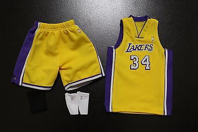 Custom 1/6 Shaquille O'Neal lakers jersey 34 NBA TOYs home yellow fit enterbay