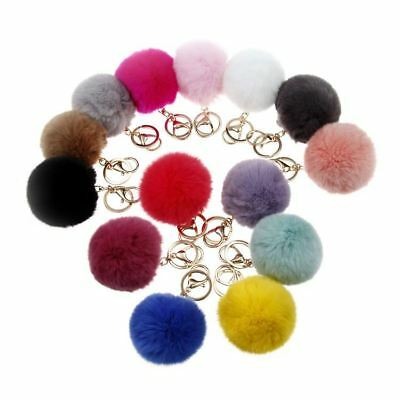 New Keyring Pompom Keychain Ball Faux Fur Soft Fluffy Handbag Car Keys Charm