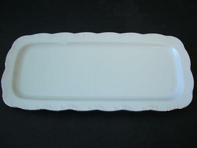 Rosenthal Classic Rose Monbijou Embossed Whte And Silver Oblong Sandwich Tray