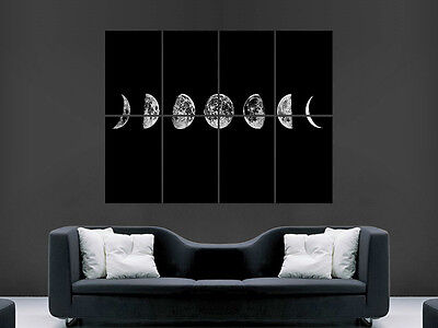 Moon Phases Space Art Wall Large Image Giant Poster !
