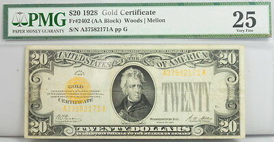 1928 $20 Dollar Gold Certificate Note FR 2402 PMG Certified 25 VF Currency