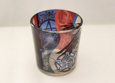 Pentacle Raven Glass Votive Candle Holder