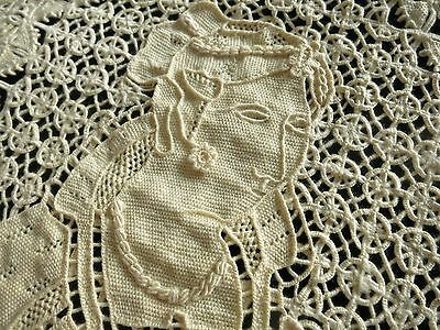 Extraordinary LADY w LACE JEWELRY Antique Pillow Sham Cover DENSE RETICELLA LACE