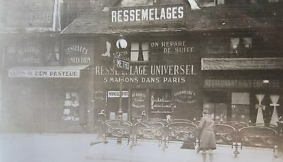 Antique Old Paris France Boot Trade Sign Ressemelages Metro Subway Early  Photo