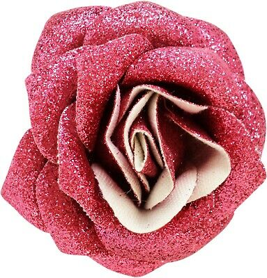 60082 Pink Glitter Rose Flower Hair Clip Sourpuss Pinup Retro Kawaii Sparkles