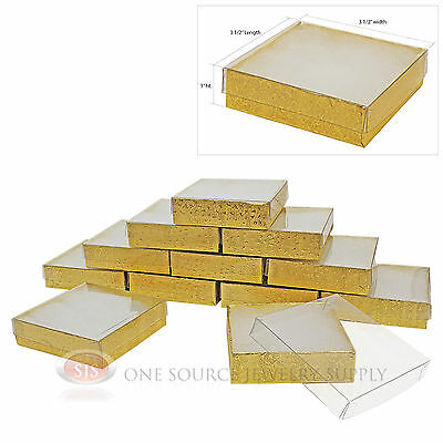 """12 Gold Foil View Top 3 1/2"""" X 3 1/2"""" Cotton Filled Gift Boxes  Jewelry Box"""