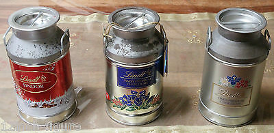 Collector Lindt Chocolate Empty Silver Metal Milk Tin Container Churn Set