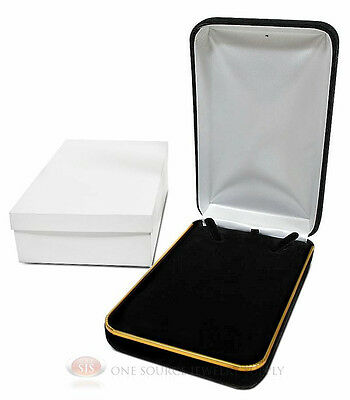 "Black Velvet Metal Classic Necklace Jewelry Gift Box 4 1/4""W x 7""D x 1 5/8""H"