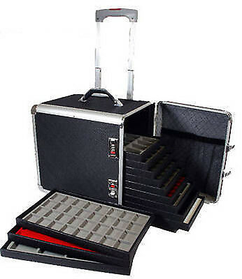 Salesman Aluminum Travel Storage Organizer Case With 12 Trays and 12 Inserts