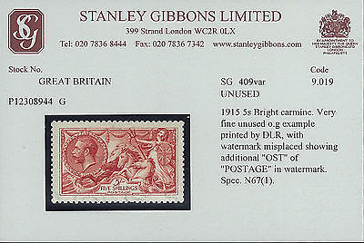 UK Stamp JH-IN0132, 1915 5s Bright Carmine Very Fine Unused o.g. Example Printed
