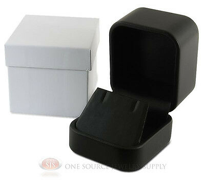 """Black Leather Metal Earring Necklace Jewelry Gift Box 2""""W x 2 3/8""""D x 1 3/4""""H"""