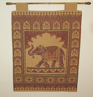 """39"""" Elephant Tapestry Wall Hanging w/Wooden Bar Dowel India Indian Style Brown"""