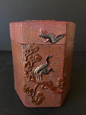 Chinese Antique Early 20Th Century Red Lacquer Box