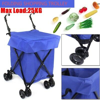 Shopping Grocery Carts Trolley Foldable Bags Luggage Wheels Folding Basket AU